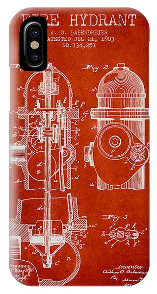1903 Fire Hydrant Patent - Red IPhone Case