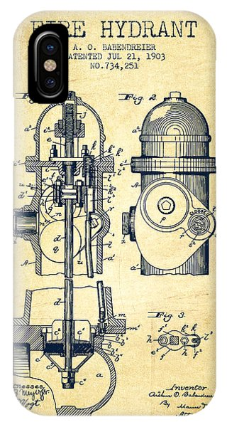 1903 Fire Hydrant Patent - Vintage IPhone Case