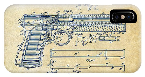 1903 Mcclean Pistol Patent Artwork - Vintage IPhone Case