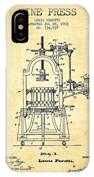 1903 Wine Press Patent - Vintage 02 IPhone Case