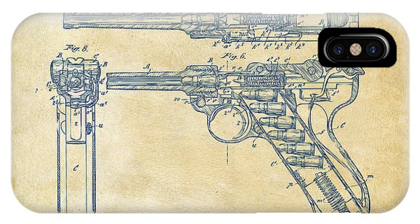 Weapons iPhone Case - 1904 Luger Recoil Loading Small Arms Patent - Vintage by Nikki Marie Smith