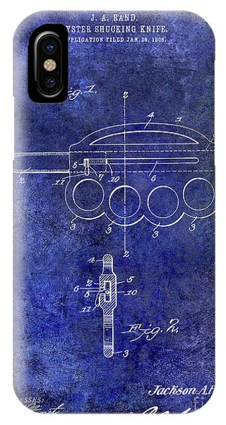 1906 Oyster Shucking Knife Patent Blue IPhone Case