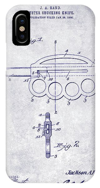 1906 Oyster Shucking Knife Patent Blueprint IPhone Case