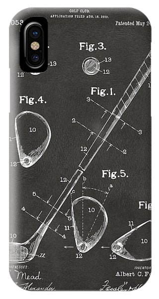 Patent Office iPhone Case - 1910 Golf Club Patent Artwork - Gray by Nikki Marie Smith