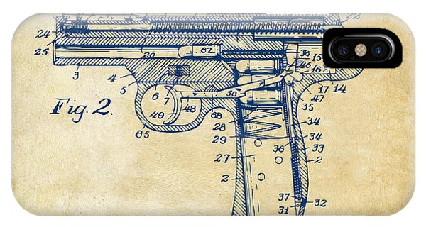 Weapons iPhone Case - 1911 Automatic Firearm Patent Minimal - Vintage by Nikki Marie Smith