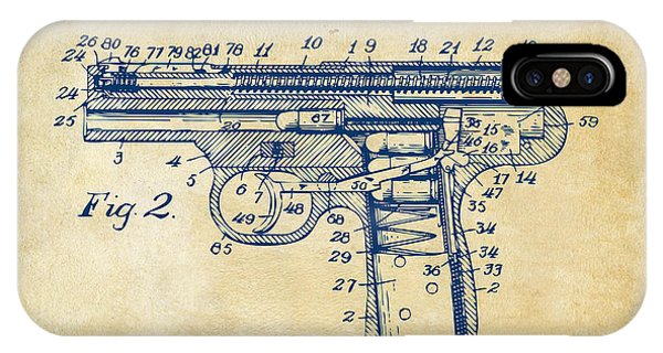 1911 Automatic Firearm Patent Minimal - Vintage IPhone Case