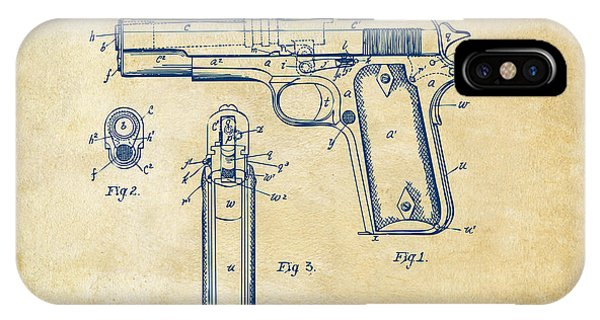 Weapons iPhone Case - 1911 Colt 45 Browning Firearm Patent Artwork Vintage by Nikki Marie Smith
