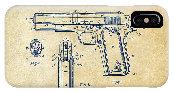 1911 Colt 45 Browning Firearm Patent Artwork Vintage IPhone Case