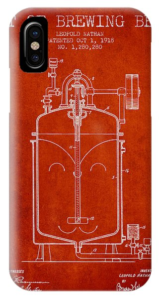 Brewery iPhone Case - 1918 Art Of Brewing Beer Patent - Red by Aged Pixel