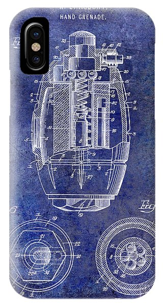 1919 Hand Grenade Patent Blue IPhone Case
