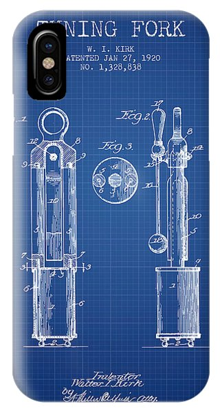 Fork iPhone Case - 1920 Tuning Fork Patent - Blueprint by Aged Pixel