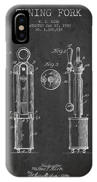 Fork iPhone Case - 1920 Tuning Fork Patent - Charcoal by Aged Pixel