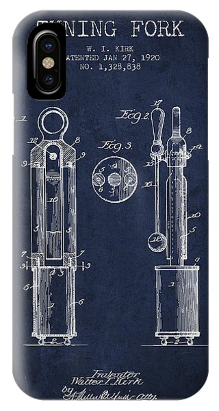 Fork iPhone Case - 1920 Tuning Fork Patent - Navy Blue by Aged Pixel