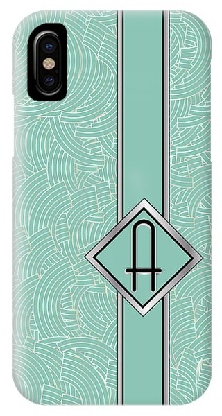 1920s Blue Deco Jazz Swing Monogram ...letter A IPhone Case