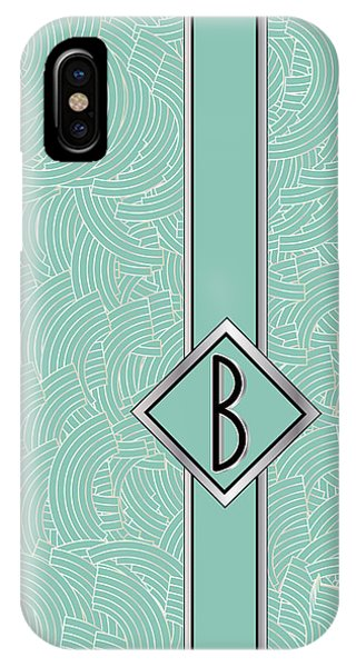 1920s Blue Deco Jazz Swing Monogram ...letter B IPhone Case