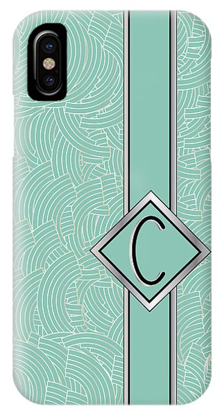 1920s Blue Deco Jazz Swing Monogram ...letter C IPhone Case