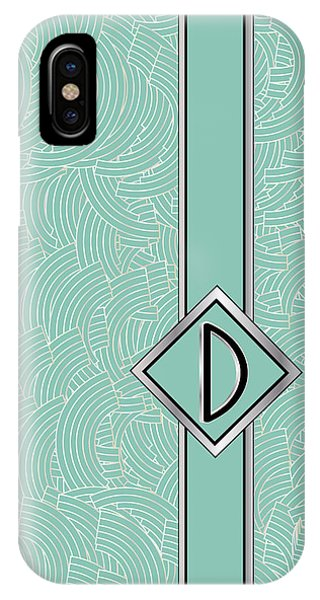 1920s Blue Deco Jazz Swing Monogram ...letter D IPhone Case