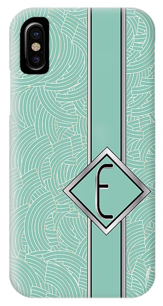 1920s Blue Deco Jazz Swing Monogram ...letter E IPhone Case