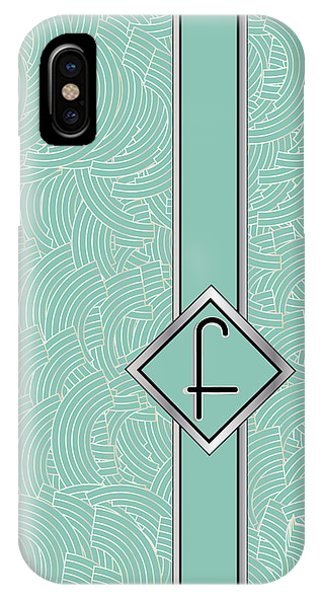 1920s Blue Deco Jazz Swing Monogram ...letter F IPhone Case