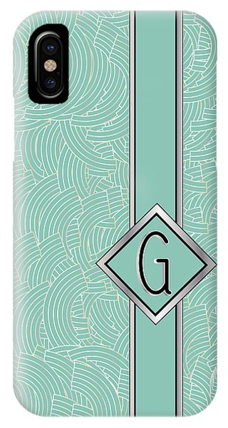 1920s Blue Deco Jazz Swing Monogram ...letter G IPhone Case