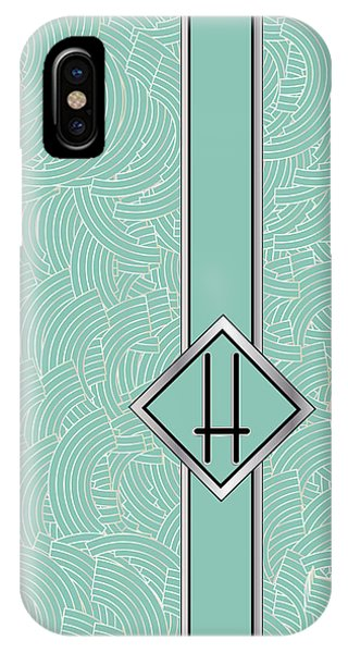 1920s Blue Deco Jazz Swing Monogram ...letter H IPhone Case