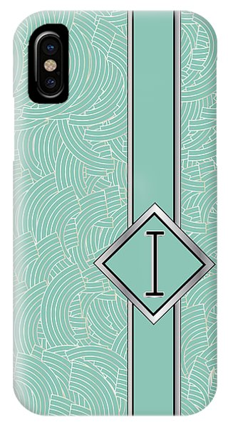 1920s Blue Deco Jazz Swing Monogram ...letter I IPhone Case