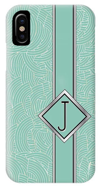 1920s Blue Deco Jazz Swing Monogram ...letter J IPhone Case