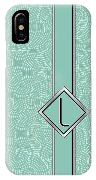 1920s Blue Deco Jazz Swing Monogram ...letter L IPhone Case