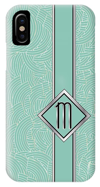 1920s Blue Deco Jazz Swing Monogram ...letter M IPhone Case