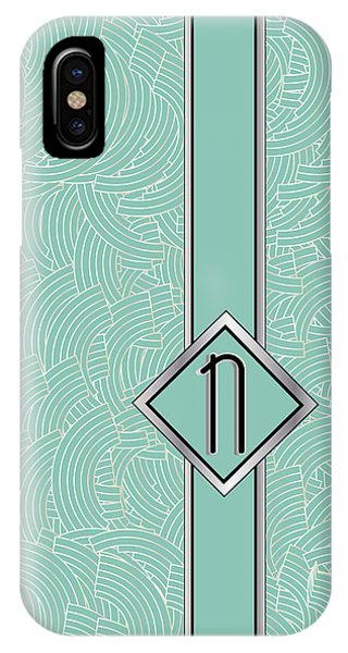 1920s Blue Deco Jazz Swing Monogram ...letter N IPhone Case