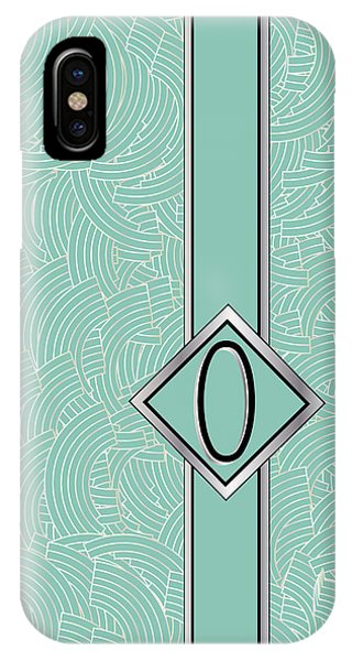 1920s Blue Deco Jazz Swing Monogram ...letter O IPhone Case