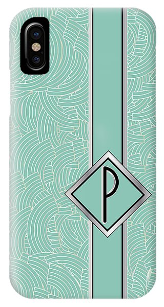 1920s Blue Deco Jazz Swing Monogram ...letter P IPhone Case