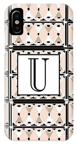 1920s Pink Champagne Deco Monogram  U IPhone Case