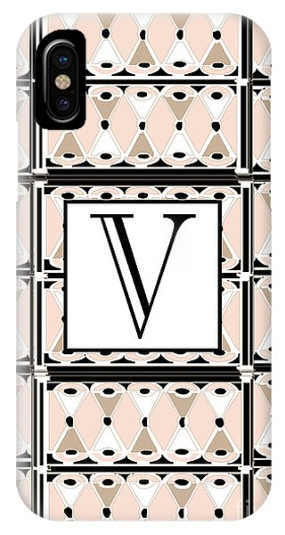 1920s Pink Champagne Deco Monogram  V IPhone Case