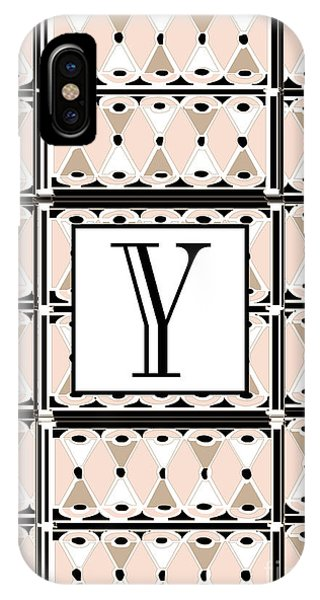 1920s Pink Champagne Deco  Monogram  Y IPhone Case