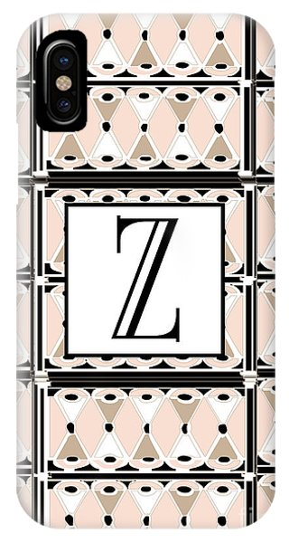1920s Pink Champagne Deco Monogram  Z IPhone Case