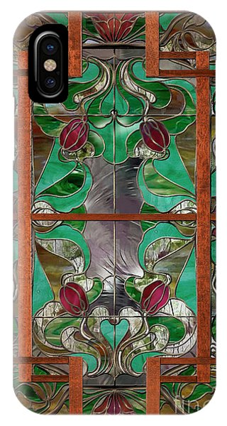 1922 Art Nouveau Stained Glass Panel IPhone Case