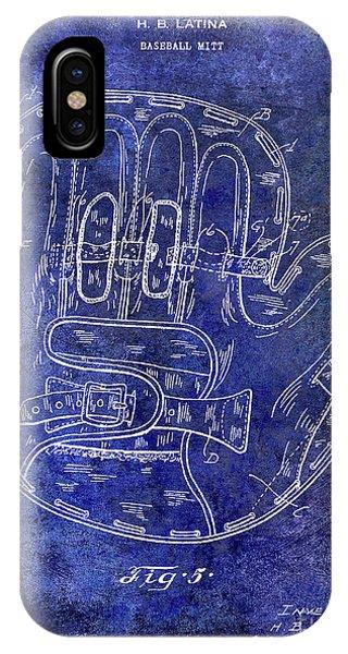 1925 Baseball Glove Patent Blue IPhone Case