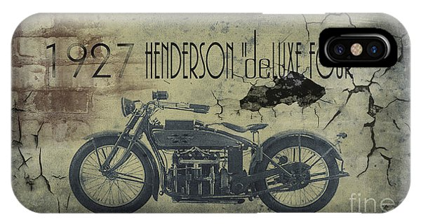 Motorcycle iPhone Case - 1927 Henderson Vintage Motorcycle by Cinema Photography