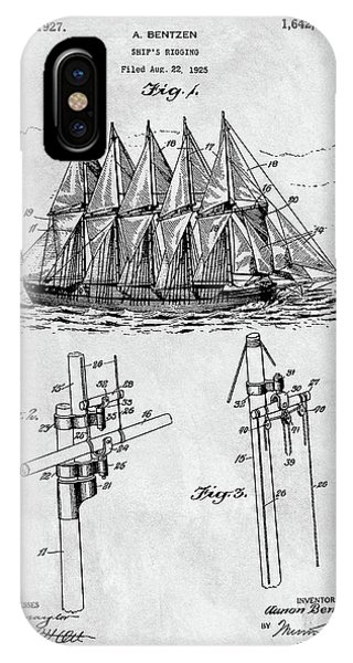 1927 Sailing Ship Patent Charcoal IPhone Case