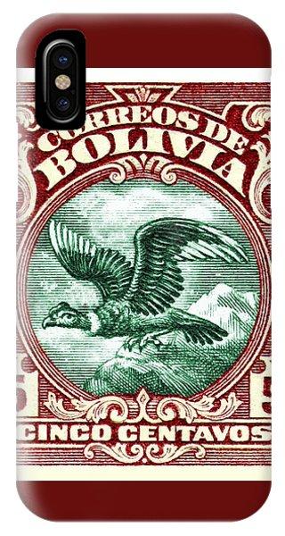 Condor iPhone Case - 1928 Bolivia Andean Condor Postage Stamp by Retro Graphics