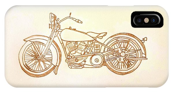 1928 Harley Davidson Motorcycle Graphite Pencil - Sepia IPhone Case