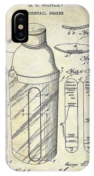 Whiskey iPhone Case - 1930 Cocktail Shaker Patent by Jon Neidert