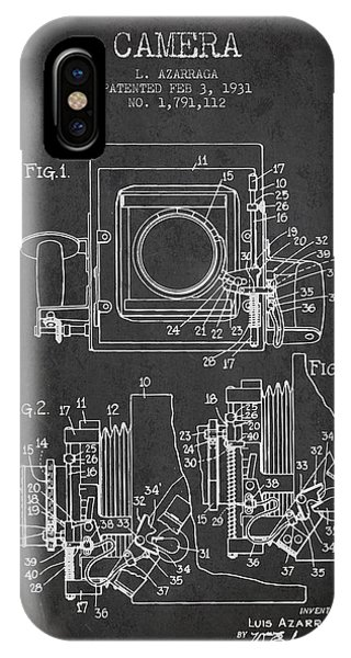 Camera iPhone Case - 1931 Camera Patent - Charcoal by Aged Pixel