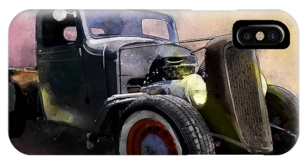 1936 Chevy Rat Rod Pickup Watercolour IPhone Case