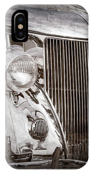 Stainless Steel iPhone Case - 1936 Ford Stainless Steel Grille -0376ac by Jill Reger