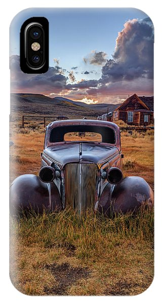 Bodie Ghost Town iPhone Case - 1937 Chevy At Sunset by Jeff Sullivan