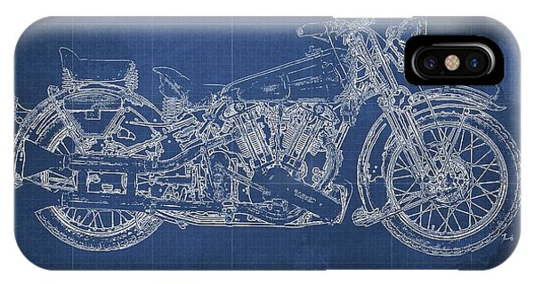 Superior iPhone Case - 1939 Brough Superior Ss100 Blueprint Blue Background by Drawspots Illustrations