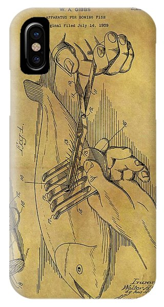 Bone iPhone Case - 1940 Boning Fish Patent by Dan Sproul