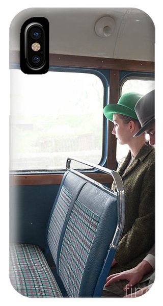1940s Couple Sitting On A Vintage Bus IPhone Case
